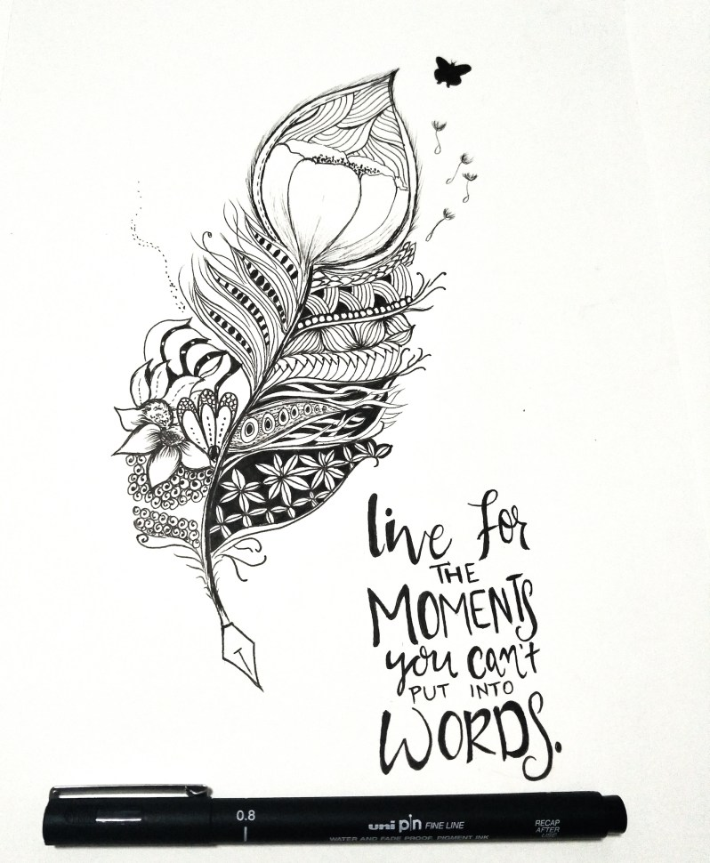 zentangle feather quote