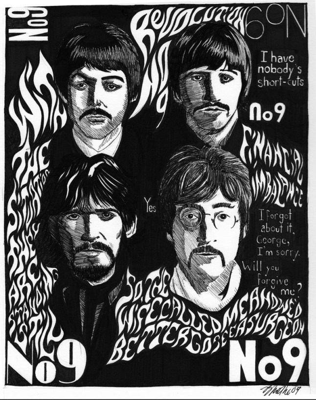 Commissioned drawing of The Beatles pencil and ink by Brian Methe Tetratos Potraits Dibujos 2009