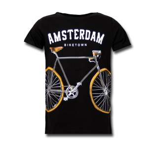 Amsterdam Biketown Black Kids T-shirt