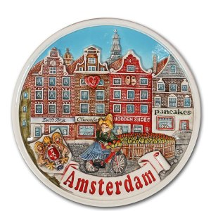 Amsterdam Bord Huizen Gekleurd