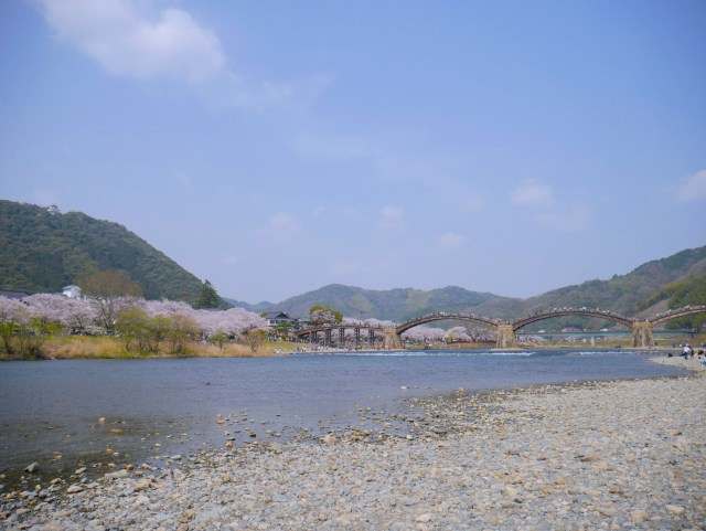 photo of kintai bridge from a distance in the south