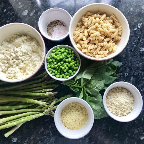 vegan pasta ingredients, pasta, cheese, peas, asparagus, yeast, italian, healthy