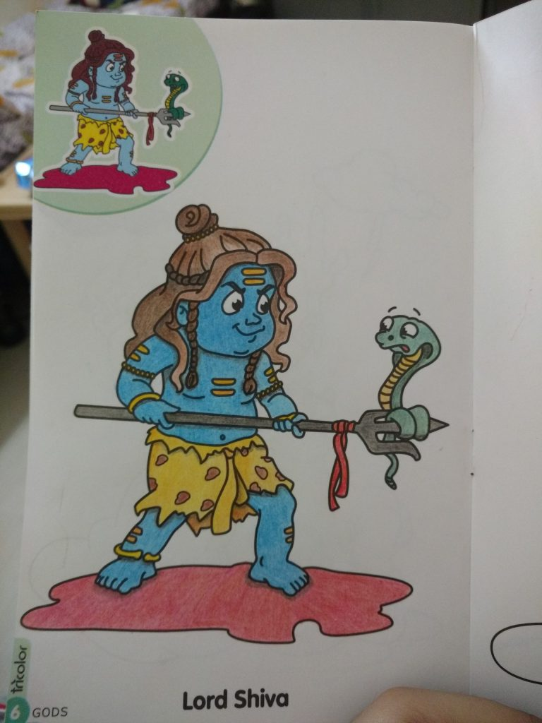 shiva, coloring book, pencil colors, trident, children's coloring book