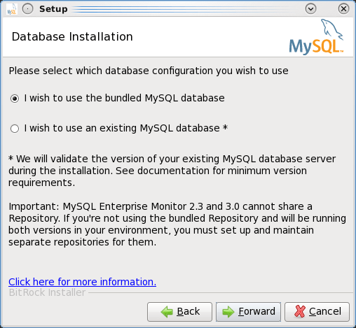 Installing the MEM 3.0 Service Manager - Step 6: Choose whether to use the bundled MySQL database or an existing one