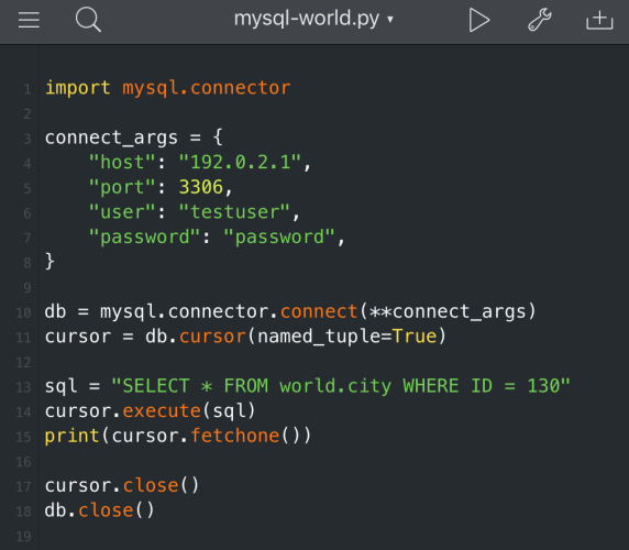 Coding with MySQL Connector/Python on an iPad