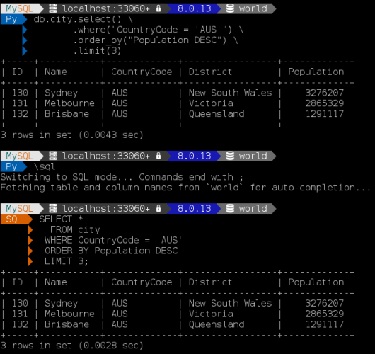Example of the new prompt feature in MySQL Shell 8.0.13 with multi line queries.