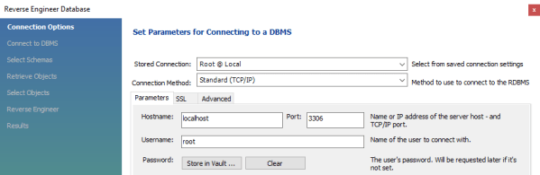 Specify the connections options to create to the MySQL instance with the schema for the EER diagram.