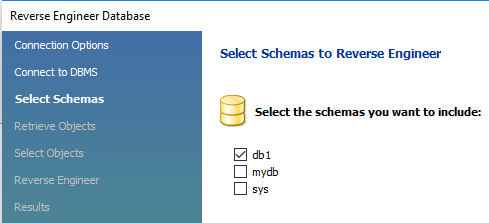 Choose the schemas to import.