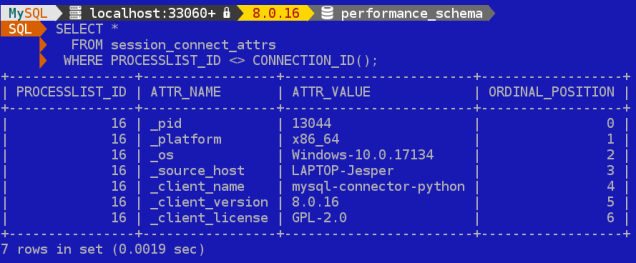 Example of the built-in connection attributes provided by MySQL Connector/Python