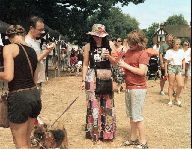 yashica 44 TLR 127 format rollei crossbird cross processing slide film summer fete fair fayre people children dog