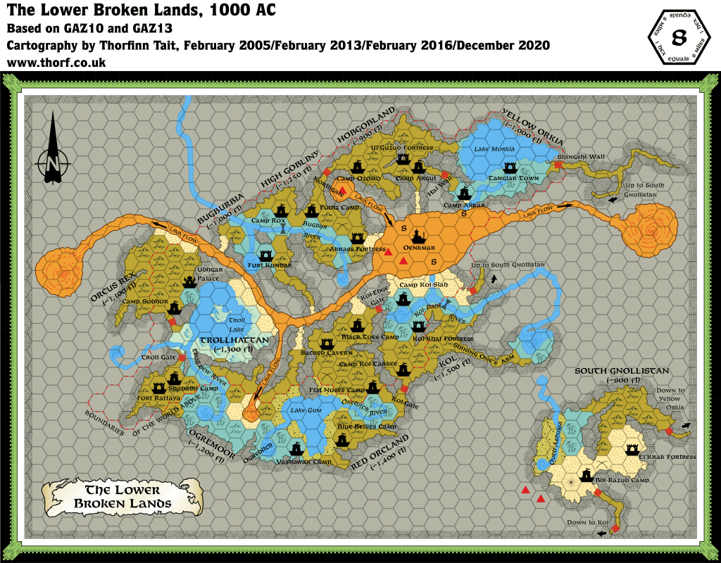 Updated map of the Lower Broken Lands, 8 miles per hex