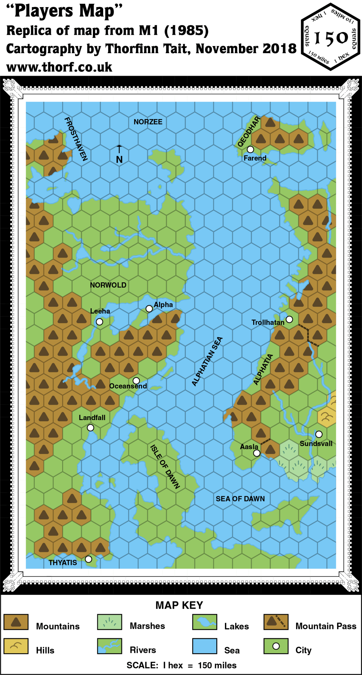 Replica of M1's Norwold Players Map, 150 miles per hex
