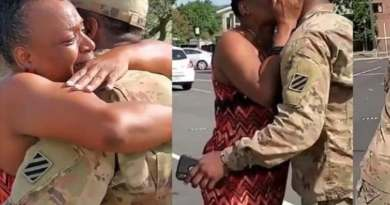 Watch emotional moment a mother reunite with her son who's in the army (video)