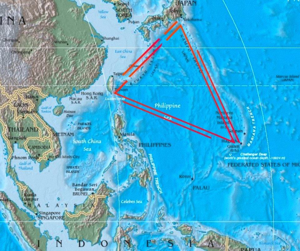 Devil's sea map Dragon's triangle