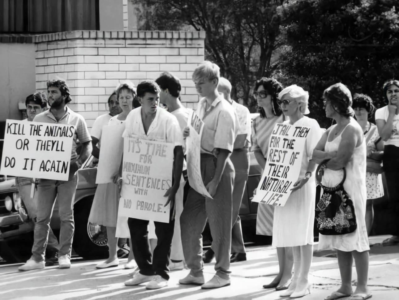 Hundreds of people gathered outside Blacktown police station when the Anita Cobby's murderers were arrested. Photo: News Local