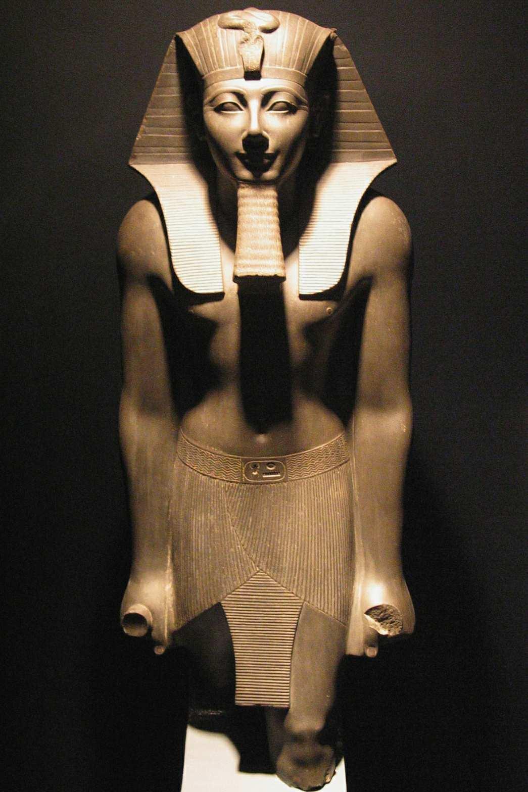 Tuthmosis III basalt statue in Luxor Museum.