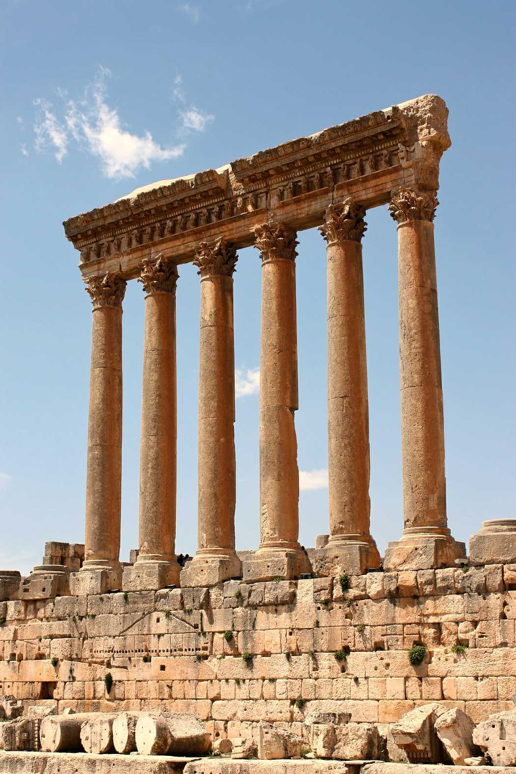 The temple of Jupiter in Baalbek temple complex, in Lebanon