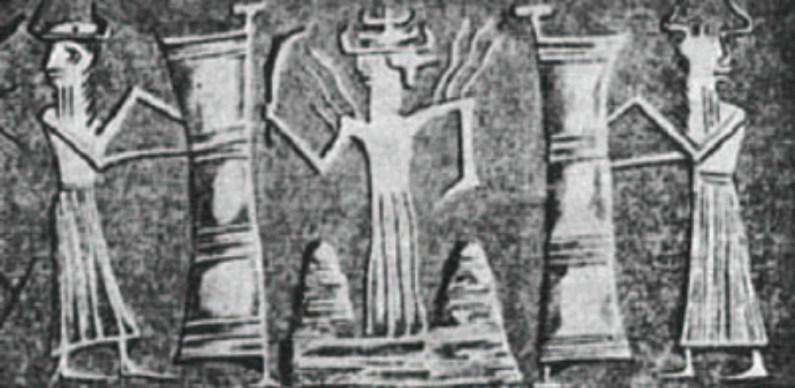 Sumerian god entering Earth through gateway