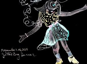"""""""Jitterbug Dancer"""" Gel pen on black sketch book paper by Cheryl Renee Long"""