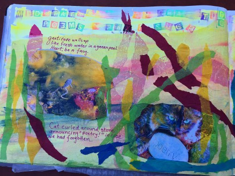 The Frog and Cat poems and photographs on the left page of my Gratitude Art Journal