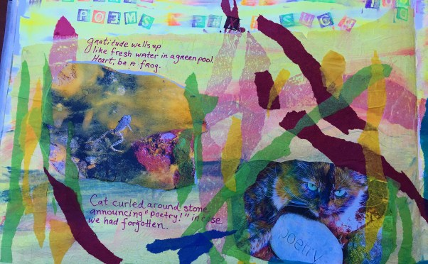 The page from my Gratitude Art Journal that features the Frog and cat poems and photographs.