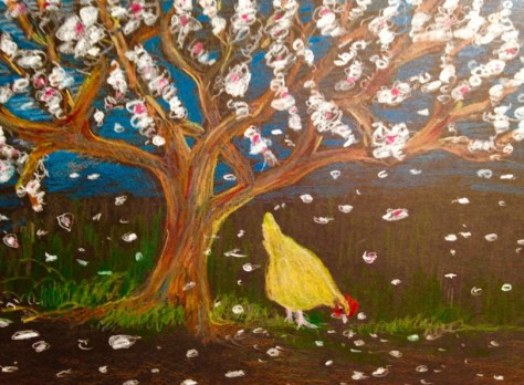 Lady Chicken Under the Almond Tree