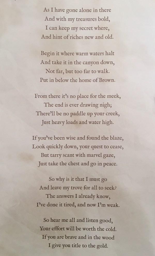 Forrest Fenn Treasure Found Poem - Year of Clean Water