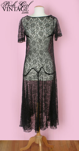 1920's fashion black lace flapper dress