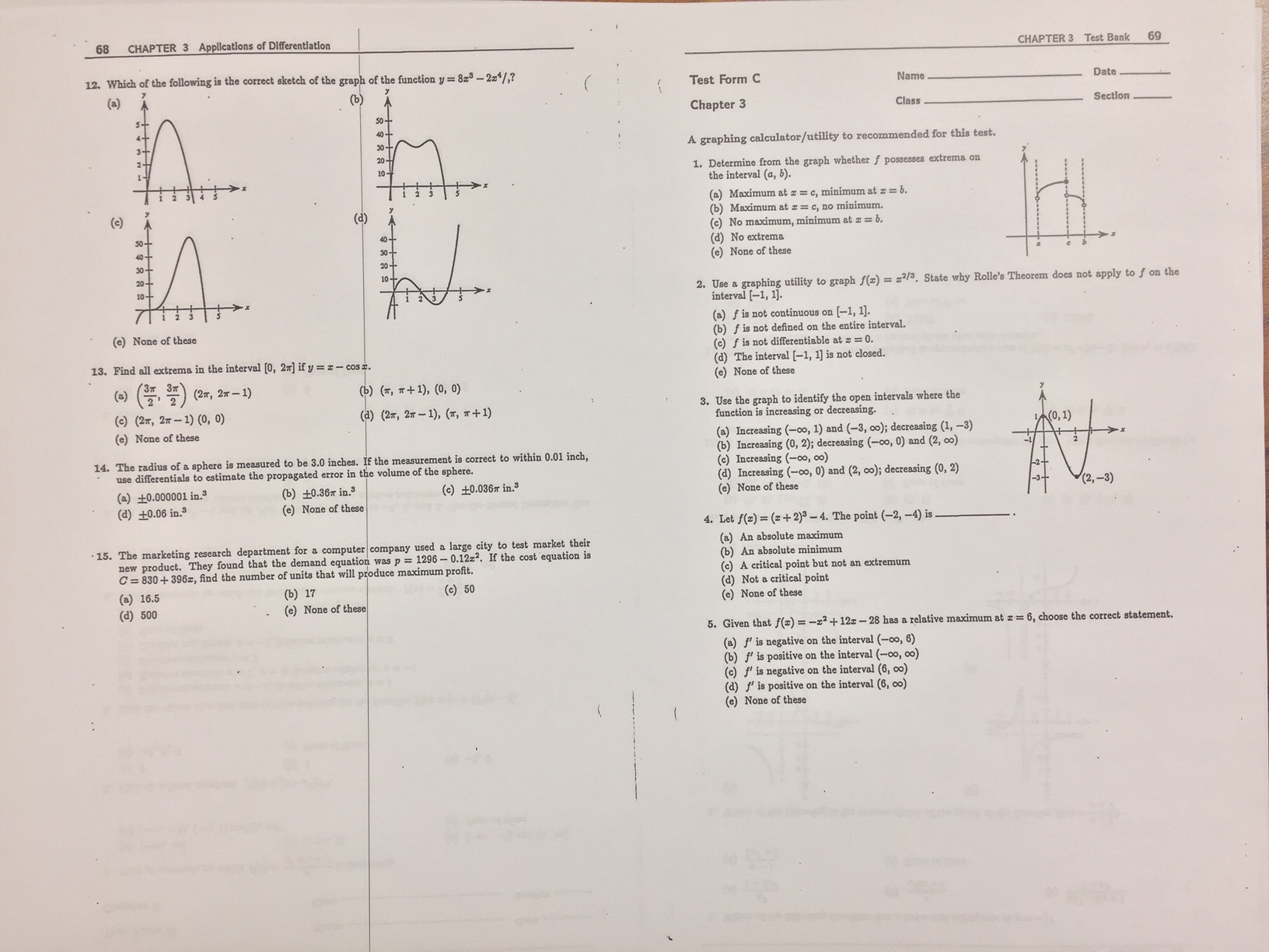 Topic Applications Of Derivatives Mc Test Review