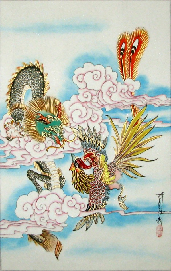Chinese Dragon and Phoenix Paintings