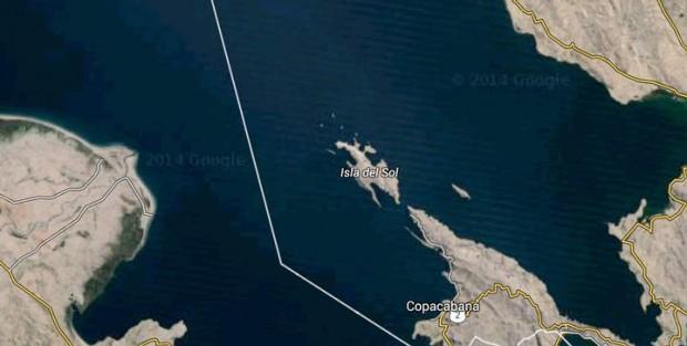 Imagen satelital del lugar del lago Titicaca donde se encontraría sumergido un templo pre-inca de grandes proporciones.