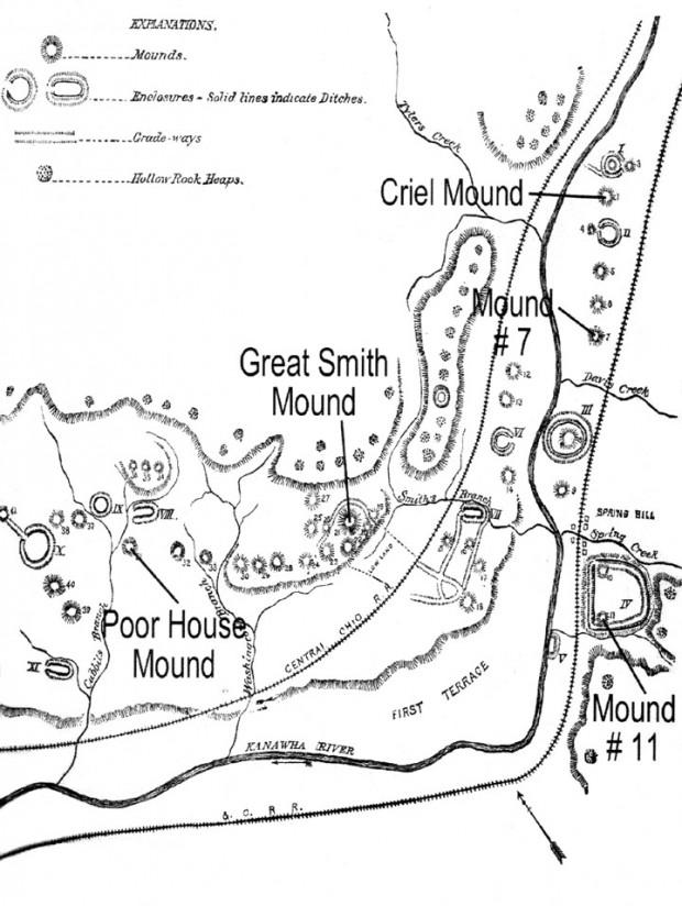 Distribución de montículos en Dunbar y South Charleston, Agencia Americana de Etnología, 1884.
