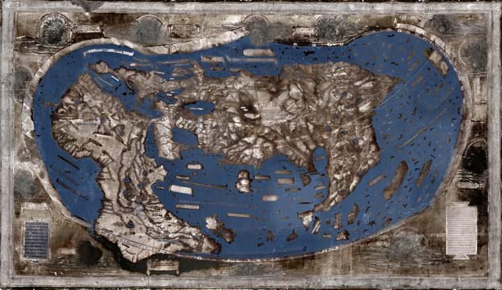 Imagen multiespectral del mapa de dibujado por Henricus Martellus en 1491.