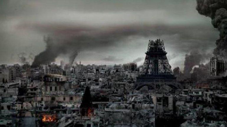 Una imagen recreada por los terroristas del Estado Islámico muestra a una París arrasada.