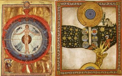 Izquierda: Rodeado por un abrazo celestial, el hombre permanece en el centro del cosmos. Derecha: En la visión de creación de Hildegarda, el «dedo de Dios» da luz a la vida en la tierra (centro) mientras Cristo sale del vientre de María (abajo).