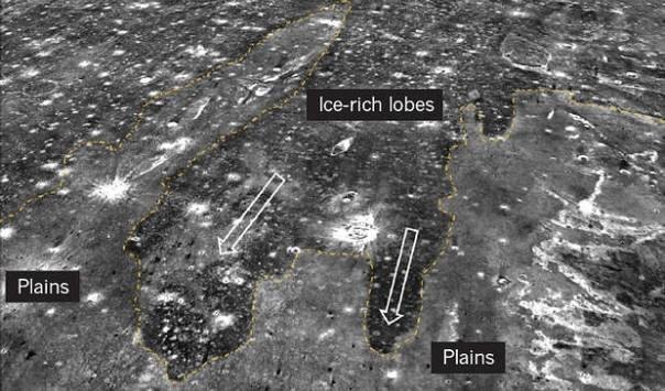 Los lóbulos ricos en hielo en la región de Arabia Terra provocados por el segundo tsunami.