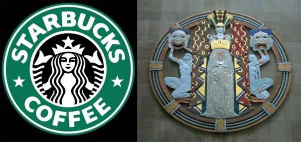 Izquierda: Logo de Starbucks (basado en el icono del Dios Mismo). Derecha: Motivo en el Centro Rockefeller, NYC.