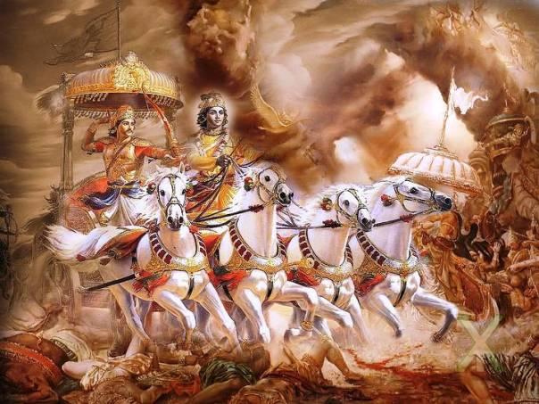 En el Mahabharata o 'guerra de los bharatas' se describen las luchas de dos familias o clanes reales, los Pandavas y los Koravas, ambas antepasados comunes del mítico Rey Bharata.