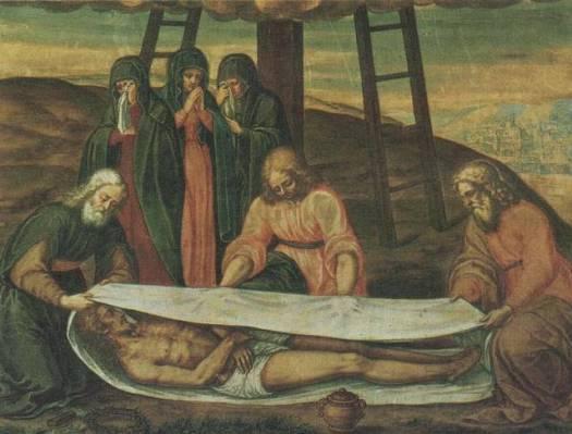 Esta imagen del descenso de la cruz de Giulio Clovio muestra a Jesús envuelto en una sábana similar a la de Turín.