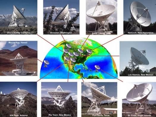 El VLBA no es sólo un telescopio, sino más bien 10 antenas de radio repartidas por Norteamérica, Hawái y el Caribe. A diferencia de la luz óptica, las ondas de radio pueden pasar sin obstáculos a través del polvo interestelar.