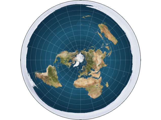 "if the Earth was really flat This is how some terraplanistas conceive our planet.  The Arctic is in the center and an ""ice wall"" on the edges prevents people from falling ..."