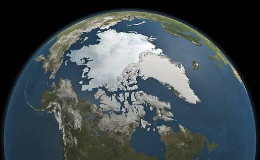 El Ártico y Groenlandia en el norte del globo terráqueo.
