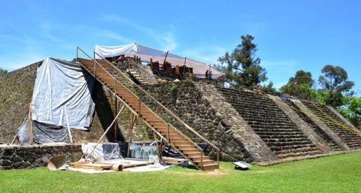 Zona Arqueológica de Teopanzolco en Morelo, México.