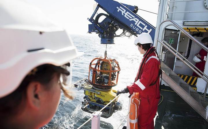 Launching the ROV from Stril Explorer. Credit: Deep Sea Productions / MMT.ship found at the bottom of the Baltic sea