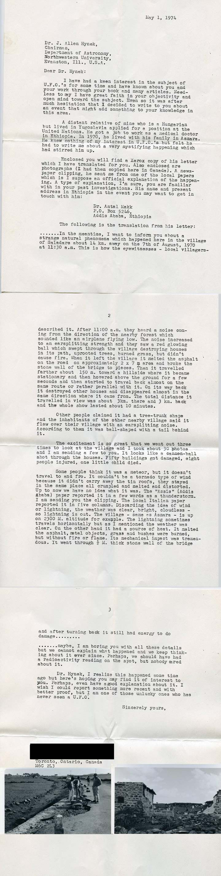 The letter sent to Hynek in 1970.