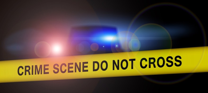 Crime scene image with blue light