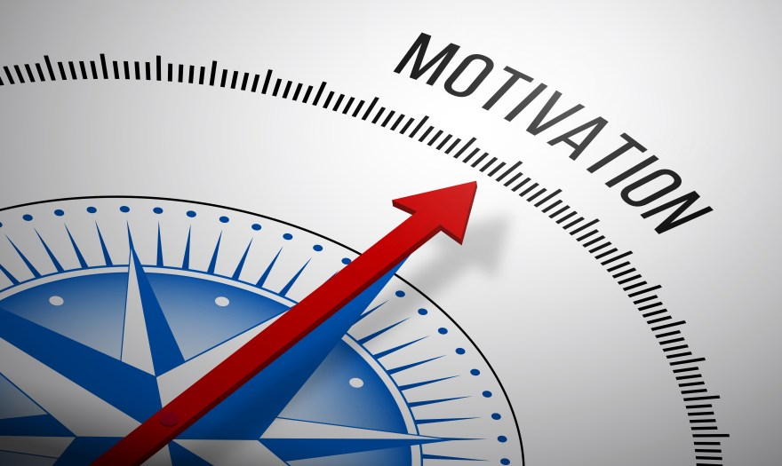 3D rendering of a compass with a Motivation icon.