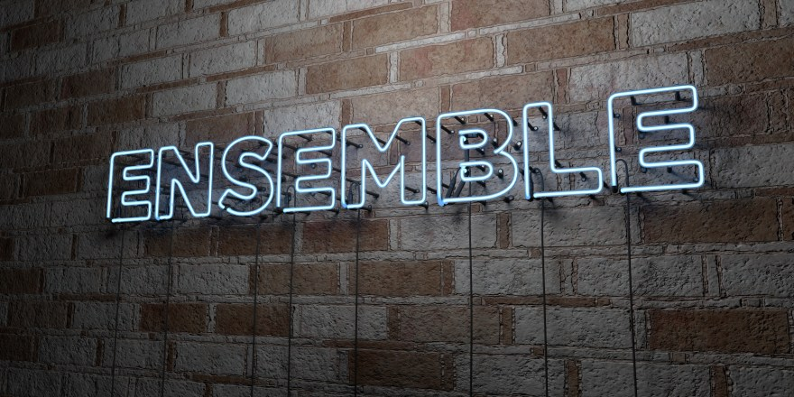 ENSEMBLE - Glowing Neon Sign on stonework wall