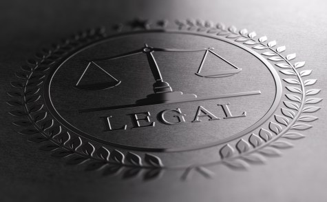 Legal Sign Design With Scales Of Justice Symbol.