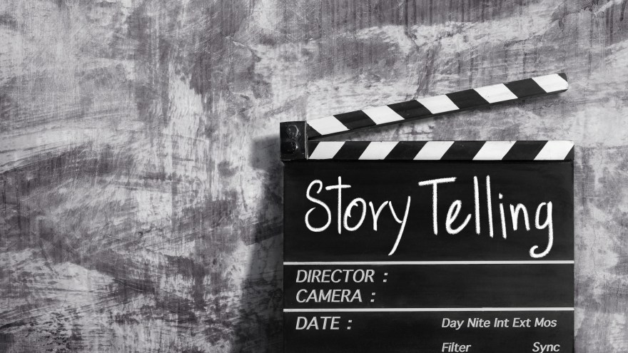story telling text title on clapper board